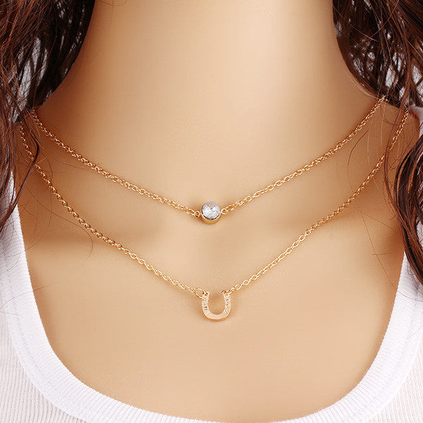 Gold Plated Crystal Horseshoe Clavicle Short Chain Necklace