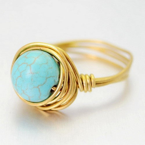 GOLD PLATED TURQUOISE QUARTZ CRYSTAL RING