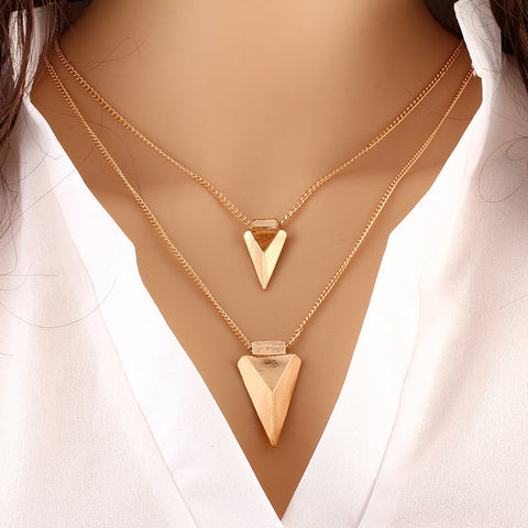 Gold Plated Double Triangle Multilayered Pendant Necklace.
