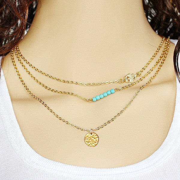 Gold Plated Hand Beaded Turquoise Coin Necklace