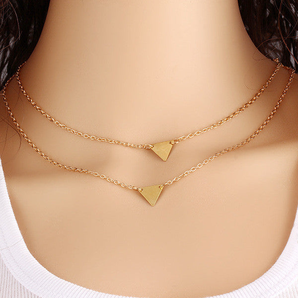 Gold Plated Triangle Collarbone Chain Necklace