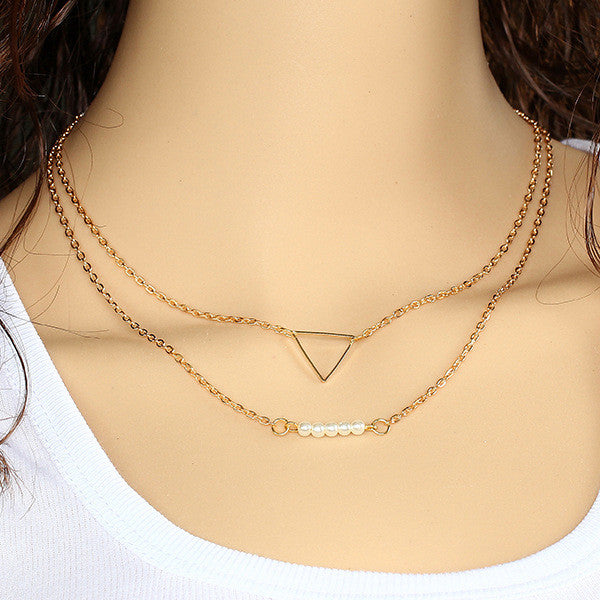 Gold Plated Triangle Pearl Lariat Pendant Necklace