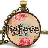 Handmade Hope Believe Glass Cabochon Pendant Necklace