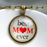 Handmade Best Mom Ever Glass Cabochon Pendant Necklace