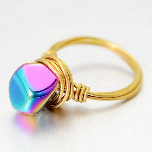 IRREGULAR CUT GOLD PLATED QUARZ CRYSTAL STONE RING