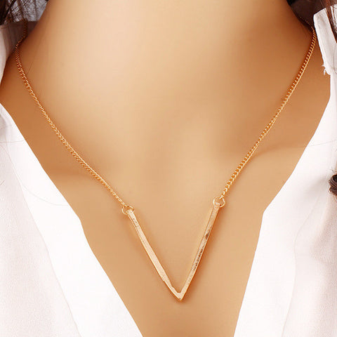 Gold Plated Chic V Shaped Bar Lariat Pendant Necklace