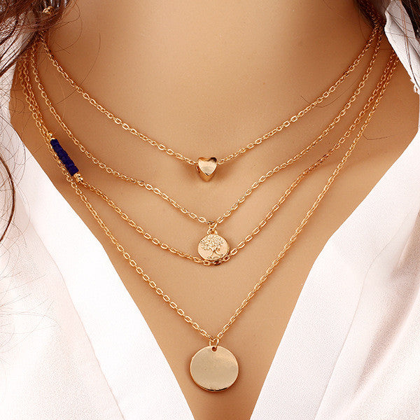 Rose Gold Plated Heart Coin Disc Lariat Pendant Necklace
