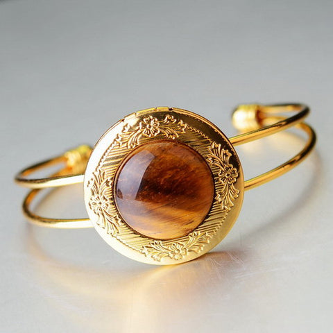 GOLD PLATED NATURAL STONE BRACELET