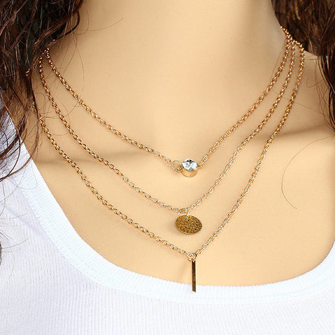 Gold Plated Crystal Coin Bar Lariat Pendant Necklace