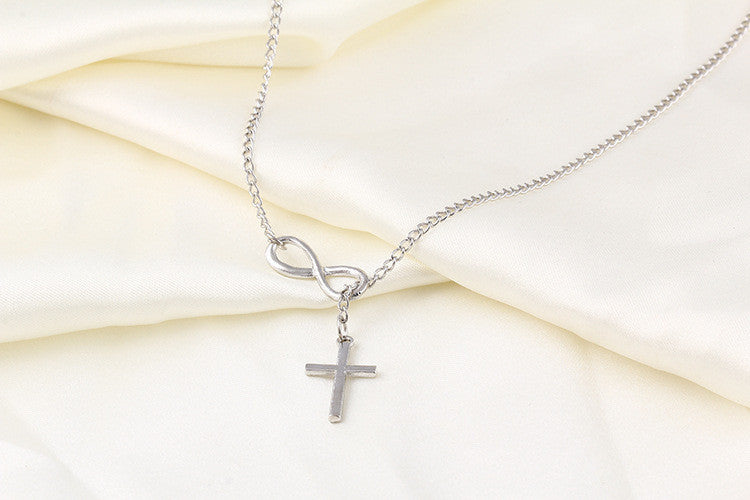 lariat sterling god necklace vi with sideways cross infinity pin and semi silver adjustable jewelry