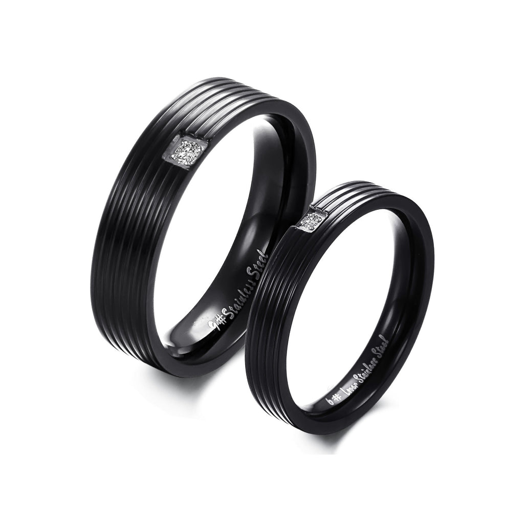 BLACK STAINLESS STEEL CRYSTAL COUPLE'S RING