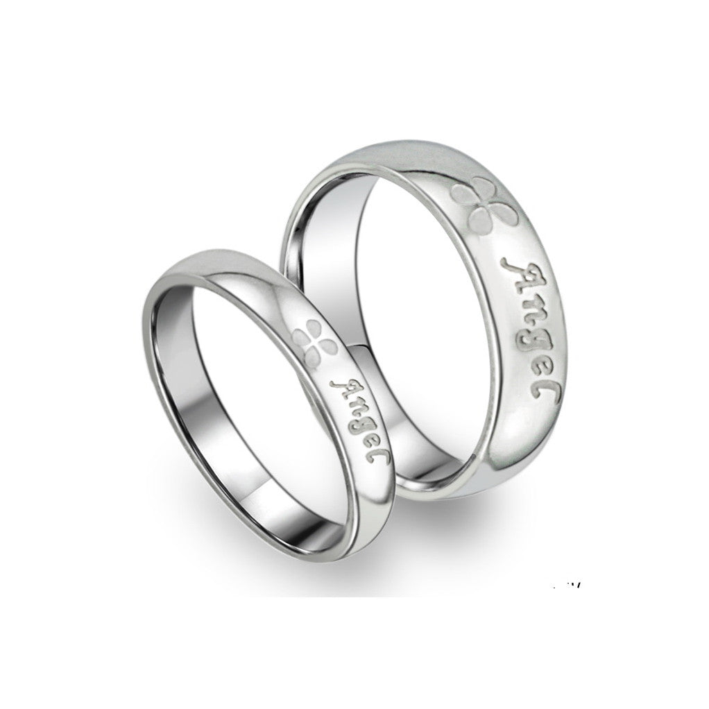 SILVER ANGEL COUPLE'S RING