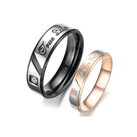 TRUE LOVE STAINLESS STEEL CRYSTAL COUPLE'S RING