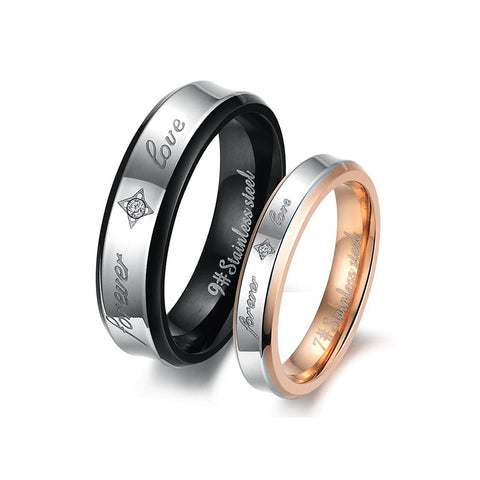 FOREVER LOVE STAINLESS STEEL COUPLE'S RING