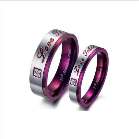 LOVE TOKEN TITANIUM STEEL COUPLE'S RING