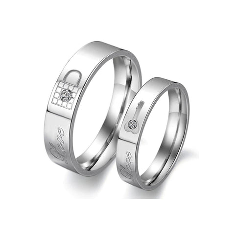 SLVER LOVE LOCK KEY COUPLE'S RING