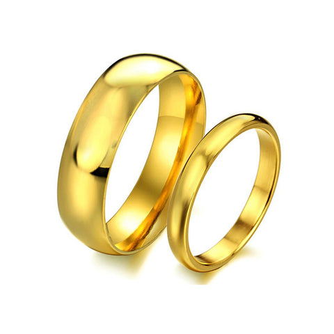 GOLD PLATED STAINLESS STEEL COUPLE'S RING