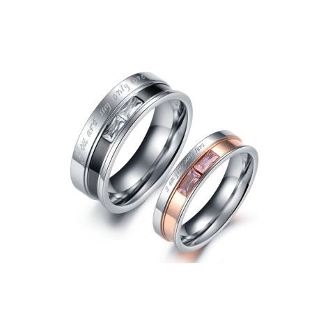 YOU ARE MY ONLY LOVE STAINLESS STEEL COUPLE'S RING