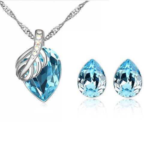 Silver Plated Crystal Water Drop Jewelry Set