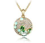 GREEN CRYSTAL HAPPY MOUSE NECKLACE