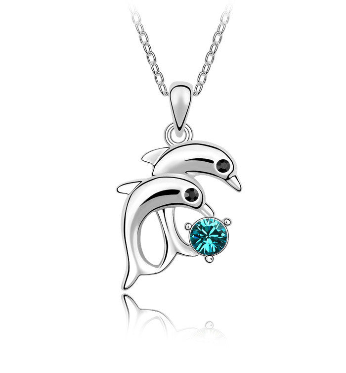 DANCING DOLPHIN COUPLE NECKLACE - WHITE GOLD PLATED