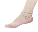 Light Blue Murano Glass Beads Love Heart Dangle Anklet