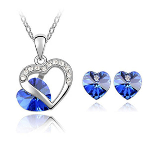Austrian Crystal Heart Pendants Necklace Jewelry Set