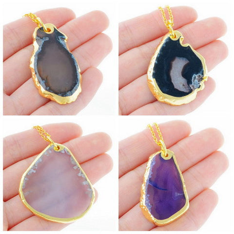 NATURAL QUARTZ STONE PENDANT NECKLACE