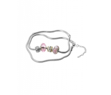 Pink Murano Glass Beads Charm Beaded Silver Plated Anklet