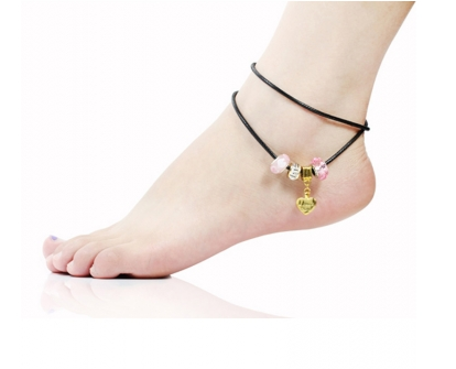 Pink Murano Glass Beads Gold Charm Beaded Leather Anklet