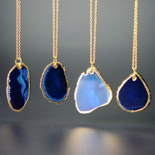 18K GOLD PLATED NATURAL AGATE STONE PENDANT NECKLACE