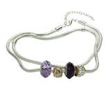 Purple Murano Glass Beads Crystal Charm Beaded Silver Anklet