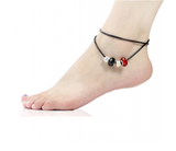 Red & Black Murano Glass Beads Charm Beaded Leather Anklet