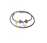 Red & Blue Murano Glass Beads Four Leaf Clover Heart Key Anklet