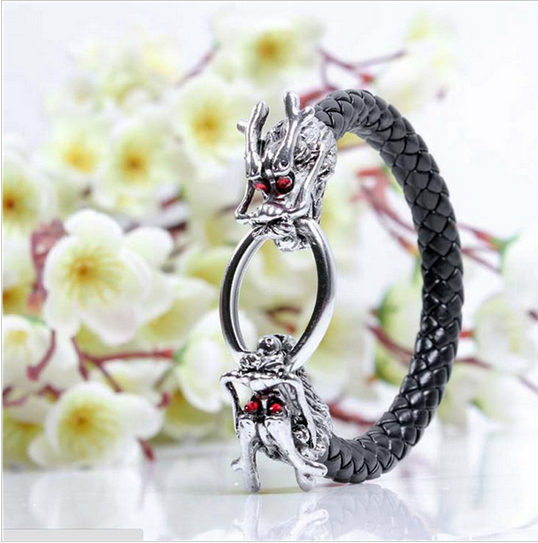 MEN'S GENUINE LEATHER RED EYE DRAGON BRACELET