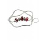 Red Murano Glass Beads Charm Beaded Silver Plated Anklet