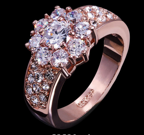 ROSE GOLD PLATED SWISS CUBIC ZIRCONIA RING