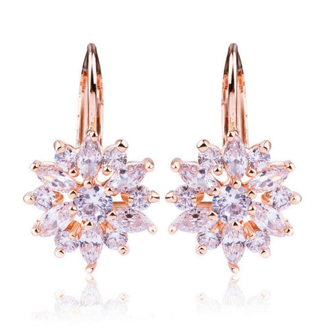 Champagne Gold Plated Flower Stud Earrings with Zircon Stone
