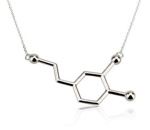 Silver plated  Dopamine Molecule Necklace