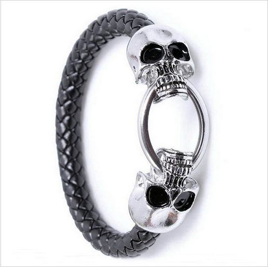 MEN'S GENUINE LEATHER SKULL BRACELET