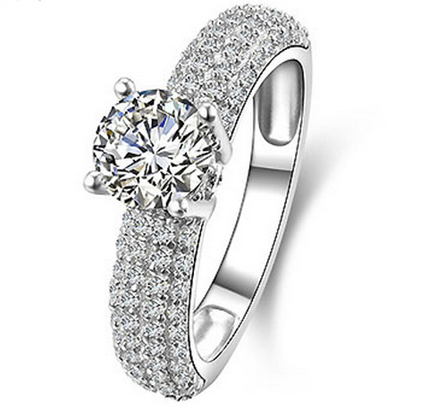 SILVER 1 CARAT LUXURY SWISS ZIRCONIA RING