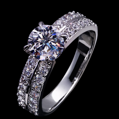 WHITE GOLD PLATED SWISS CUBIC ZIRCONIA
