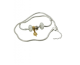 White Murano Glass Beads Gold Plated Four Leaf Clover Anklet