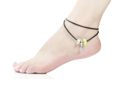 Yellow Murano Glass Beads Four Leaf Clover Dangle Leather Anklet