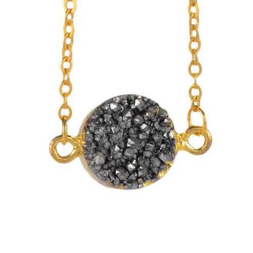 GOLD PLATED DRUZY GRAY STONE PENDANT NECKLACE