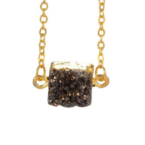 GOLD PLATED DRUZY STONE NECKLACE PENDANT
