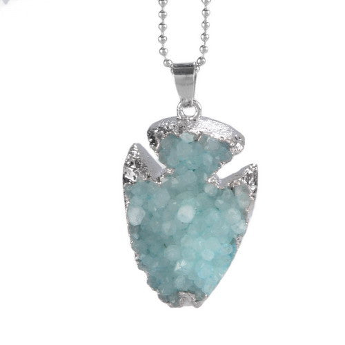 SILVER LIGHT GREEN DRUZY STONE PENDANT NECKLACE