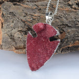 SILVER RED DRUZY STONE NECKLACE PENDANT
