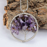 SILVER DRUZY CRYSTALS TREE PENDANT NECKLACE