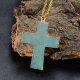 GOLD PLATED STONE CROSS PENDANT NECKLACE